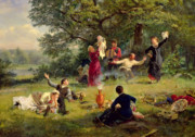 Family Picnic Prints - Sunday Print by Alexei Korsuchin