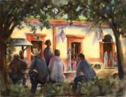 Scene Pastels Prints - Sunday at the Alameda Print by Joan  Jones