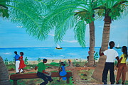Haitian Paintings - Sunday By The Beach by Nicole Jean-Louis