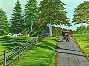 Split Rail Fence Painting Prints - Sunday Drive Print by Charlotte Blanchard
