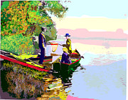 Canoe Mixed Media Prints - Sunday Fishing Print by Charles Shoup