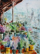 Bilbao Prints - Sunday flower market in Bilbao Print by Zaira Dzhaubaeva