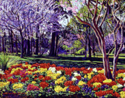 Floral Paintings - Sunday In the Park by David Lloyd Glover