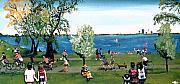 Green Reliefs Posters - Sunday morning at Lake Calhoun Poster by Richard  Hubal
