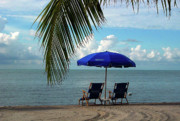 Beach Umbrella Prints - Sunday Morning at the Beach in Key West Print by Susanne Van Hulst