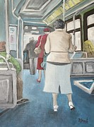Pointe St. Charles Paintings - Sunday Morning Bus Stop by Reb Frost