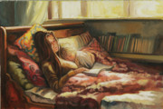 Interior Morning Paintings - Sunday Morning by Jonel Scholtz