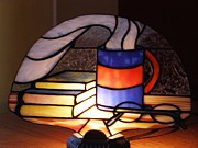 Books Glass Art - Sunday morning lamp by Shelly Reid