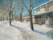 Snow Scene Paintings - Sunday Morning Snow by Edward Farber