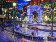 New West Art Framed Prints - Sunday Night In Washington Square Park Framed Print by Arthur  Robins