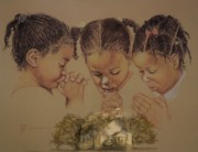 Hands Pastels Prints - Sunday Prayers Print by Pamela Mccabe