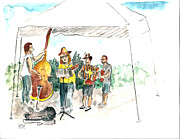 Live Music Painting Posters - SundayMarketBand Poster by Edward Williams