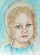Amish Drawings Framed Prints - Sundays Child Framed Print by Sandra Valentini
