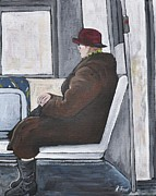 Pointe St. Charles Paintings - Sundays on the 107 Bus by Reb Frost