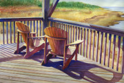 Outer Banks Paintings - Sundeck Geometry VII by Marguerite Chadwick-Juner