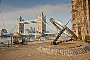Hall Digital Art Framed Prints - Sundial at Tower Bridge Framed Print by Donald Davis