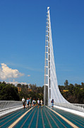 River Scene Posters - Sundial bridge - This bridge is a glass-and-steel sculpture Poster by Christine Till
