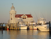 Boats At Dock Prints - Sundown at Old Saybrook Marina Print by B Rossitto