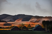 Barns Digital Art Prints - Sundown At The Ranch Print by Patricia Stalter