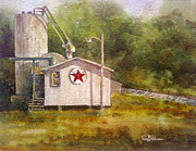 Texaco Sign Paintings - Sundown at the Sign of the Star by Tina Bohlman