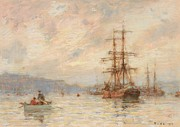 Sailing Ship Paintings - Sundown by Henry Scott Tuke