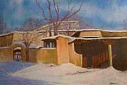 Winter Scene Pastels - Sundown in Santa Fe by Judy Walton