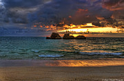 Sunset Seascape Framed Prints - Sundown Framed Print by Ryan Wyckoff