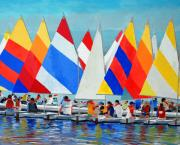 Sails Paintings - Sunfish Camp by Keith Wilkie