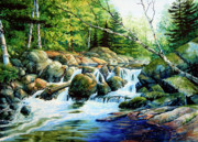 Cottage Country Paintings - Sunfish Creek by Hanne Lore Koehler