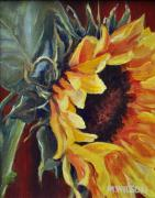 Rich Color Paintings - Sunflower - Open Face by Marjory Wilson