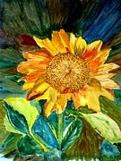 Colored Background Originals - Sunflower 2 by Judy Vaeth