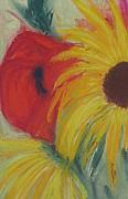 Floral Still Life Pastels Prints - Sunflower And Poppy Print by Kathryn Gordon