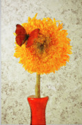 Small Abstract Posters - Sunflower and red butterfly Poster by Garry Gay