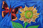 Sunflower Paintings - Sunflower and Red Butterfly by Genevieve Esson