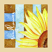 Blues Greeting Cards Posters - Sunflower and Stripe Poster by Ann Troe
