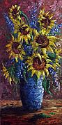 Sunflower Oil Paintings - Sunflower Bouquet by David G Paul
