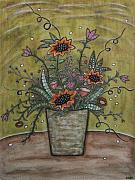 Modern Folk Art Paintings - Sunflower Bouquet by Rain Ririn