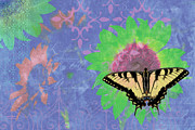 Butterfly Painting Posters - Sunflower Butterfly Blue Poster by JQ Licensing
