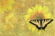Decor Photography Painting Posters - Sunflower Butterfly Yellow Gold Poster by JQ Licensing