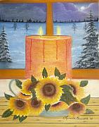 Window Pastels - Sunflower Candle by Linda Bennett
