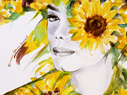Mj Posters - Sunflower close-up Poster by Hitomi Osanai