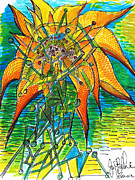 Thought Drawings - Sunflower Construction by Jon Baldwin  Art