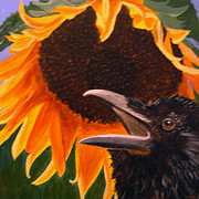 Yellow Beak Paintings - Sunflower Crow by Kathleen A Johnson