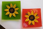 Sunflowers Glass Art - Sunflower Dinner Plates by Justyna Pastuszka