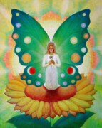 Fairies Posters - Sunflower Fairy Poster by Sue Halstenberg
