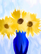 Heidi Painting Posters - Sunflower Fantasy Still Life Poster by Heidi Smith