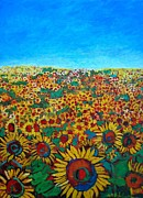 Textures And Colors Painting Prints - Sunflower Field Print by Ana Maria Edulescu