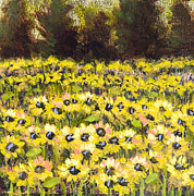 Vic Mastis Originals - Sunflower Field Series w Silver Leaf by Vic Mastis by Vic  Mastis