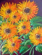 Leaf Paintings - Sunflower Fire by Felix Concepcion
