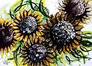Sunflower Oil Paintings - Sunflower Fish 2 by J Vincent Scarpace